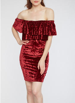 Off the Shoulder Crushed Velvet Dress - 1410054211696