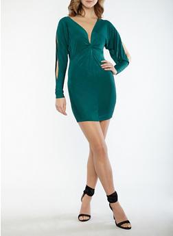 Twist Front Open Back Shimmer Knit Dress - 1410054211699