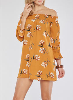 Off the Shoulder Floral Crepe Knit Shift Dress - 1410054214404