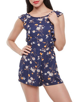 Ruffled Floral Romper - 1410054216032