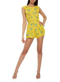 Ruffled Floral Romper - 1410054216032