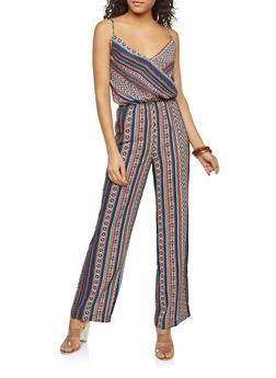 Faux Wrap Aztec Print Jumpsuit - 1410054216065