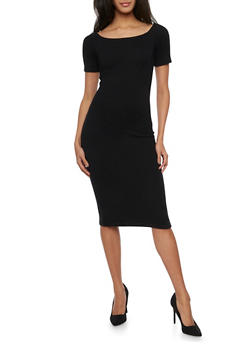 Off the Shoulder Midi Dress in Stretch Knit - BLACK - 1410054216220