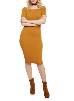 Off the Shoulder Midi Dress in Stretch Knit - MUSTARD - 1410054216220