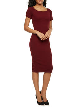 Soft Knit Off the Shoulder Midi T Shirt Dress - BURGUNDY - 1410054216220