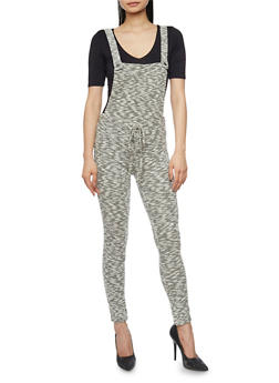 Marled Knit Overalls with Drawstring Waist - BLACK - 1410056571761