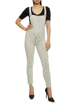 Marled Knit Overalls with Drawstring Waist - 1410056571761