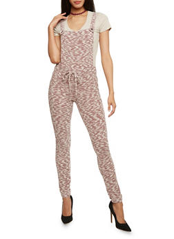 Marled Knit Overalls with Drawstring Waist - WINE - 1410056571761