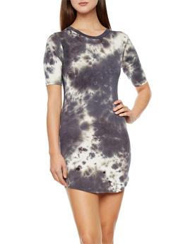 Tie Dye T-Shirt Dress,GRAY,medium