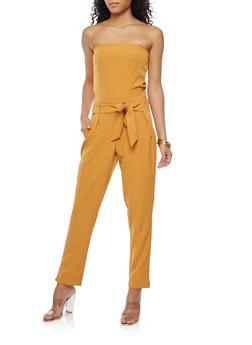Strapless Tie Front Jumpsuit - 1410056574199