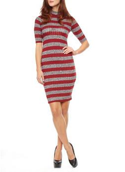Striped Rib-Knit Mock Turtleneck Midi Dress,BURGUNDY,medium
