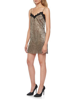 Metallic Slip Dress with Lace Trim - 1410058601470