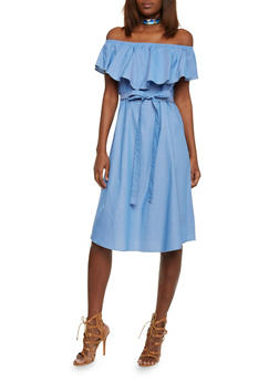 Ruffled Off the Shoulder Chambray Dress with Waist Tie - 1410058601546