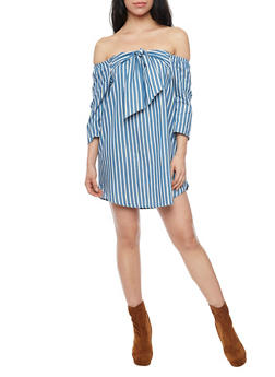 Striped Off the Shoulder Dress with Large Bow Tie - 1410058601553