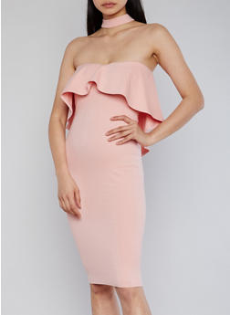 Strapless Bodycon Dress with Ruffle Overlay and Choker Neck Detail - 1410058601577