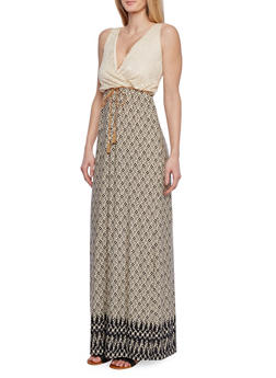 Border Print Maxi Dress with Lace Top - 1410058603078