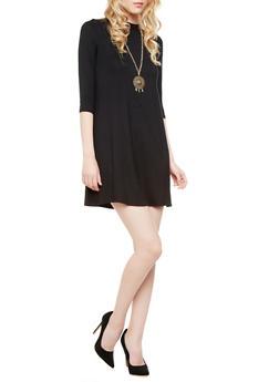 3/4 Sleeve Trapeze Dress With Detachable Chain Necklace,BLACK,medium