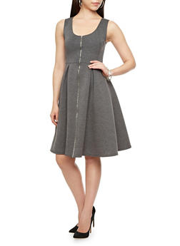 Sleeveless Scuba Knit Fit and Flare Dress with Zip Front,BLACK,medium