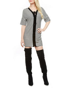 Lace-Up Front Striped Tunic Dress With Drop Sleeves,BLACK/WHITE,medium