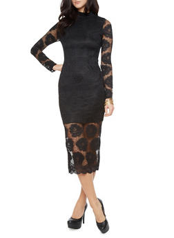 Long Sleeve Floral Lace Maxi Dress With Mockneck and Open Lace Sleeves,BLACK,medium