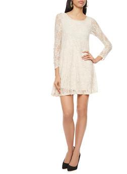 Lace Shift Dress with Long Sleeves,NATURAL,medium