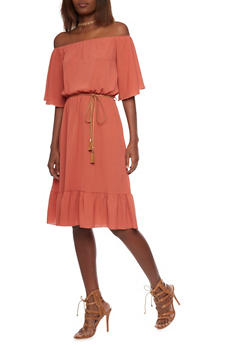 Off the Shoulder Midi Peasant Dress with Tassel Belt - 1410058604582