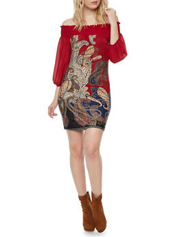 Three Quarter Sleeve Off The Shoulder Mini Dress - 1410058605116