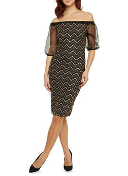 Metallic Chevron Print Off The Shoulder Dress with Sheer Sleeves - 1410058605124