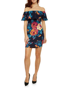 Off the Shoulder Floral Dress with Ruffle Panel - 1410058605167
