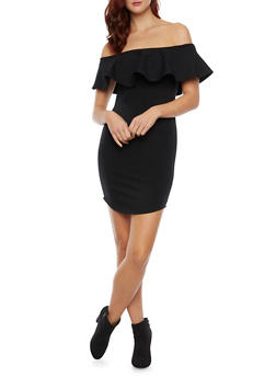 Off The Shoulder Bodycon Dress with Ruffle Neck - BLACK - 1410058605174