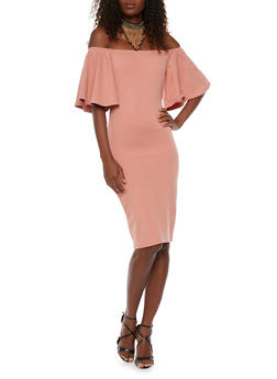 Off the Shoulder Dress with Bell Sleeves - 1410058605192