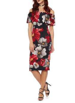 Off the Shoulder Midi Dress with Floral Print - 1410058605208