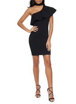 Ruffled One Shoulder Dress with Choker Neck - BLACK - 1410058605363