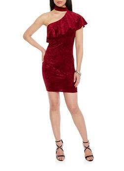 Ruffled One Shoulder Floral Velvet Dress with Choker Neck - BURGUNDY - 1410058605719