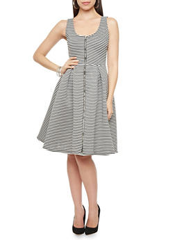 Sleeveless Striped Scuba Knit Fit and Flare Dress with Zip Front,BLACK/WHITE,medium
