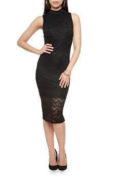 Sleeveless Mock Turtleneck Lace Bodycon Midi Dress,BLACK,medium