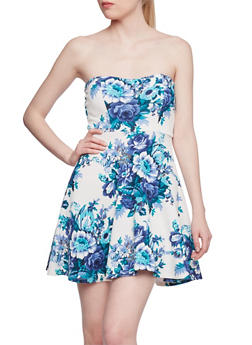 Floral Skater Dress with Cutout Back - 1410058609181