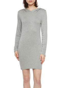 Hooded Soft Knit T Shirt Dress - 1410061355459