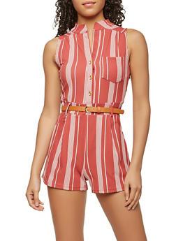 Belted Striped Romper - 1410062700015