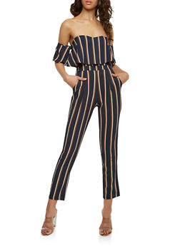 Striped Off the Shoulder Ruffled Jumpsuit - 1410062700025