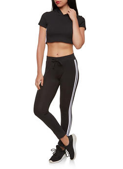 Athletic Stripe Hooded Top and Active Pants Set - 1410062700800