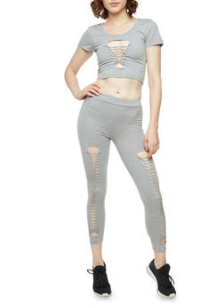Twisted Front Crop Top and Leggings Set - GREY - 1410062702801