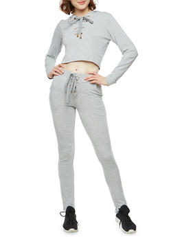 Lace Up Cropped Hoodie and Joggers Set - HEATHER - 1410062702812