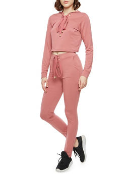 Lace Up Cropped Hoodie and Joggers Set - MAUVE - 1410062702812