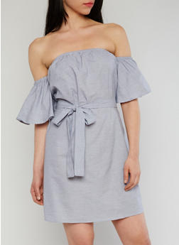 Striped Off the Shoulder Dress with Sash Belt and Bell Sleeves - 1410062705385
