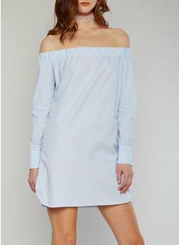 Striped Off the Shoulder Shift Dress - 1410062705389