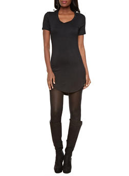 T Shirt Dress With High-Low Hem and Large Back Opening,BLACK,medium