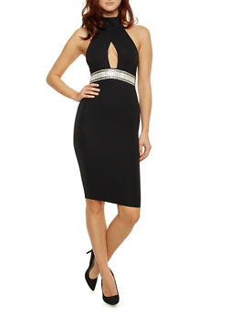 Halter Dress with Crystal Embellished Waistband - BLACK - 1410062705625