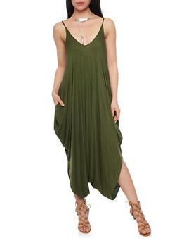 Solid Spaghetti Strap Gaucho Jumpsuit - OLIVE - 1410062705626