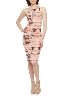 Mid Length Tie Dye Racerback Bodycon Dress - 1410062705634
